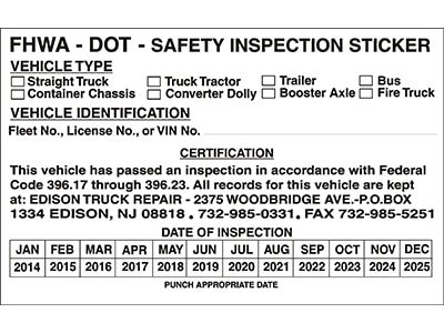 Image of Custom USDOT Safety Inspection Sticker
