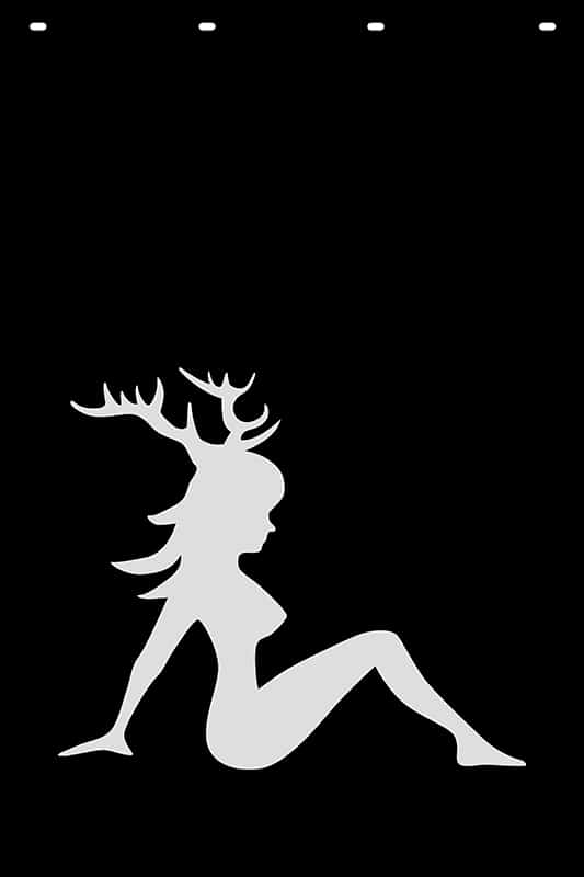 Image of Trucker Girl with Antlers Stock Stamp Mud Flap